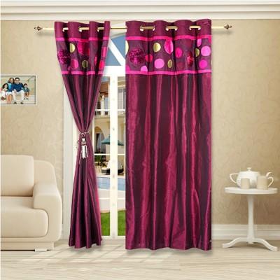 Eyda Polyester Plum Abstract Eyelet Long Door Curtain