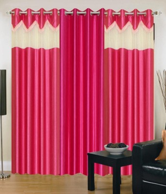 Ech Oly Polyester Pink Solid Tab Top Door Curtain