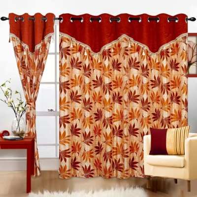 Cortina Polyester Orange Solid Eyelet Door Curtain