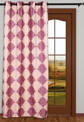Sanaya Polyester Beige, Green Printed Eyelet Window Curtain