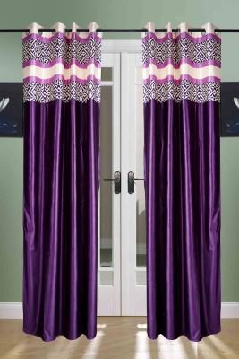 the handloom store Polyester Purple Plain, Geometric, Self Design Eyelet Door Curtain
