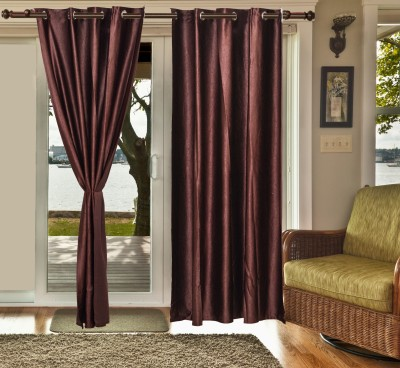 sachidanand solutions Polyester dark brown Plain Eyelet Window & Door Curtain
