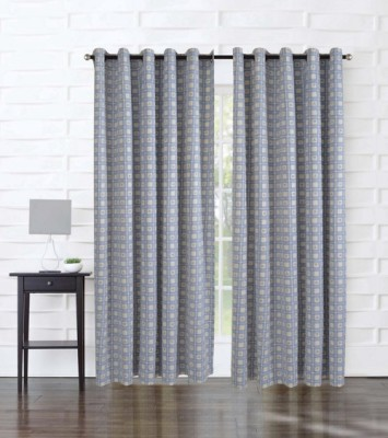 Home Boutique Cotton Blue, Grey Abstract Eyelet Long Door Curtain
