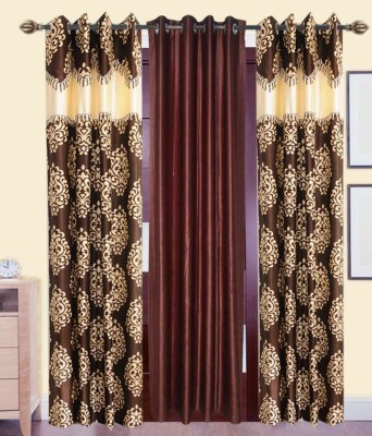 Jai Ganga Polyester Brown and Beige Printed Curtain Door Curtain