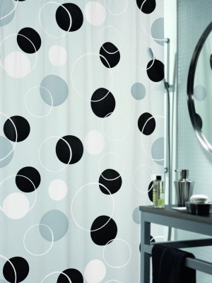 Spread PVC Black Printed Eyelet Shower Curtain
