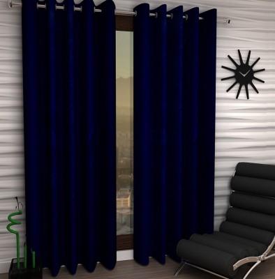 Home Fantasy Polyester Blue Plain Eyelet Door Curtain