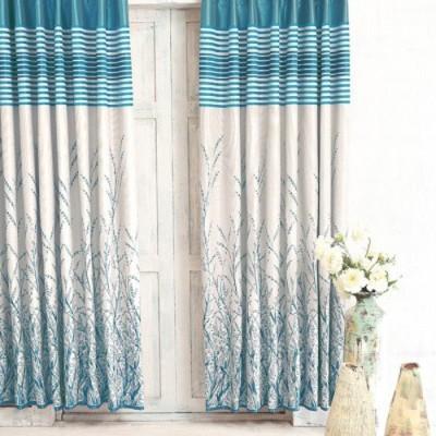 DBR Jacquard Multicolor Solid Eyelet Door Curtain