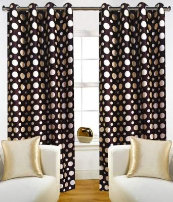 K-Star Polyester Brown Printed Eyelet Door Curtain