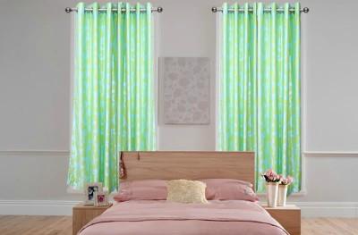 OsianArts Green Floral Eyelet Door Curtain