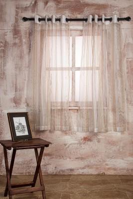 Marigold Polyester WHITEBEIGE Striped Curtain Window Curtain