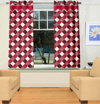 Trendy Home Polyester Maroon Geometric Eyelet Window Curtain