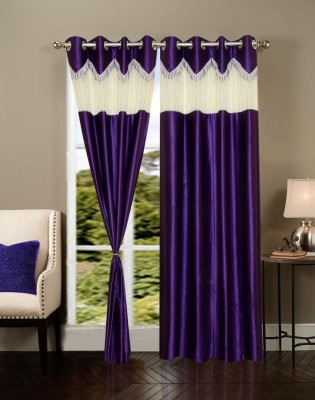 Homesazz Polyester Purple Self Design Eyelet Door Curtain