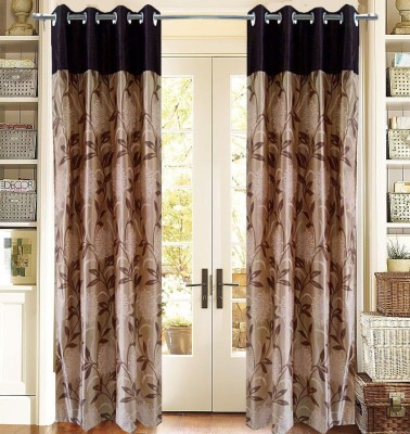 Homefab India Polyester Beige Floral Eyelet Door Curtain