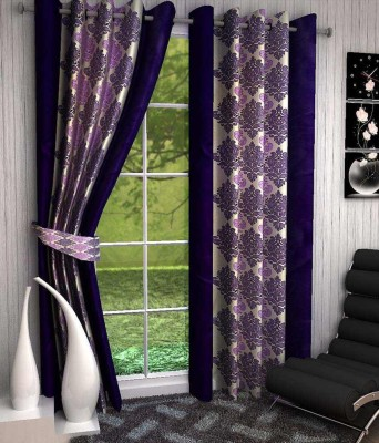 Divine Polyester Purple Printed Eyelet Window Curtain