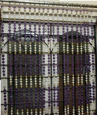 Rasmy Home Decor Ethylene Vinyl Acetate Purple, White, Gold Self Design Ring Rod Window & Door Curtain