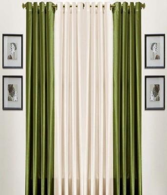 Thiwas Polyester Green Plain Eyelet Door Curtain