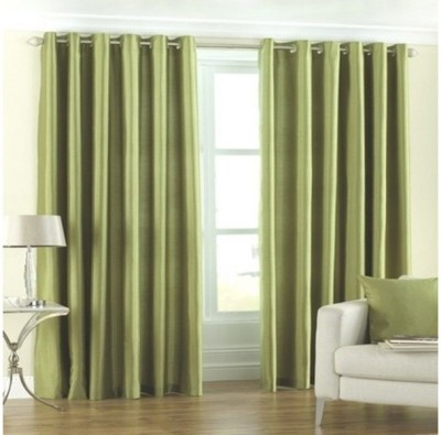 Shiv Fabs Polyester Green Plain Ring Rod Door Curtain