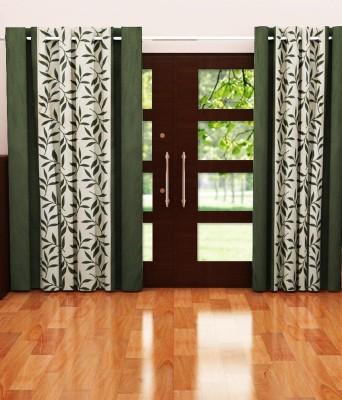 Sanaya Polyester Green Printed Eyelet Door Curtain