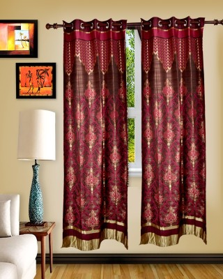 Maple Polyester Pink Abstract Rod pocket Window & Door Curtain