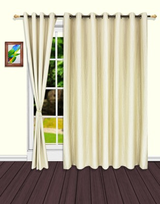 S9home by Seasons Polyester Beige Striped Eyelet Door Curtain