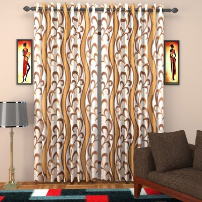 SurprizeMe Polyester Brown Printed Eyelet Window Curtain