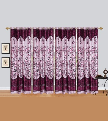 Rj Products Polycotton Wine Printed Eyelet Door Curtain