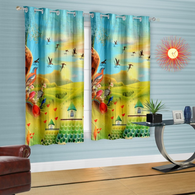 Cortina Polyester Light Blue Printed Eyelet Window Curtain(150 cm in Height, Single Curtain)