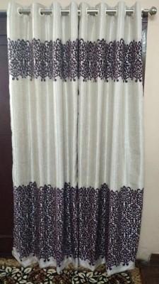 FC Polycotton Purple Floral Eyelet Door Curtain