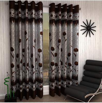 Panipat Textile Hub Polyester Brown Floral Eyelet Door Curtain