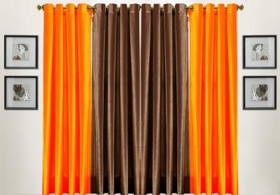 Thiwas Polyester Orange, Brown Solid Eyelet Door Curtain