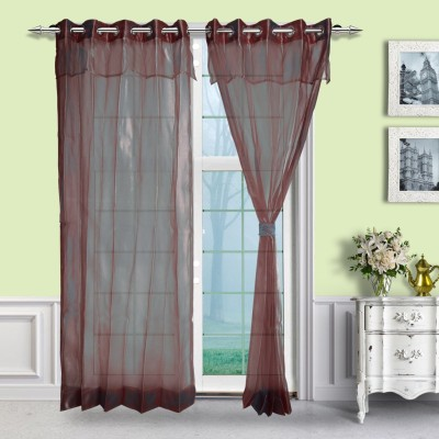 Just Linen Polyester Red Solid Eyelet Door Curtain
