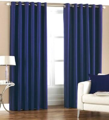 BTI Polyester Blue Plain Eyelet Door Curtain