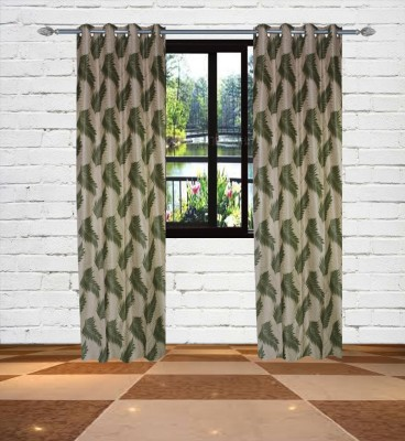 Gaurav Curtains Polyester Green Floral Eyelet Window Curtain