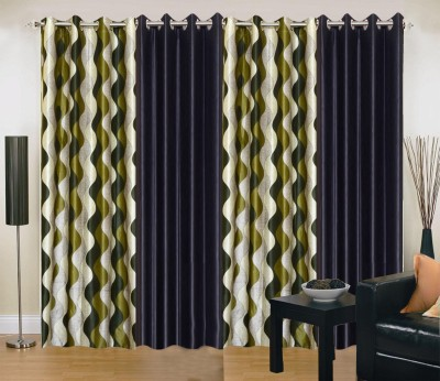 New Trends Polyester Green, Black Printed Eyelet Long Door Curtain