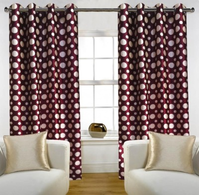 Home Candy Polyester Maroon Striped Eyelet Door Curtain