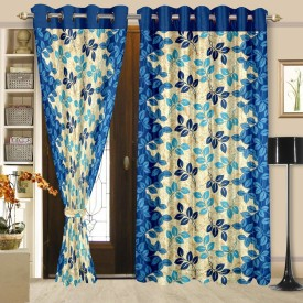 Cortina Polyester Blue Floral Eyelet Door Curtain(210 cm in Height, Pack of 2)