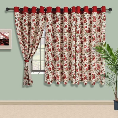 Swayam Cotton Beige, Red Solid Eyelet Window Curtain