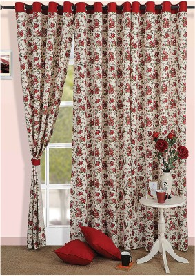 Swayam Cotton Beige, Red Floral Eyelet Door Curtain