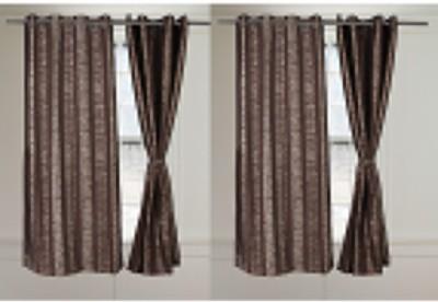 Threadmix Polycotton Brown Abstract Eyelet Window Curtain