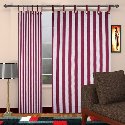 TG Shoppers Cotton Maroon, Beige Striped Curtain Door Curtain