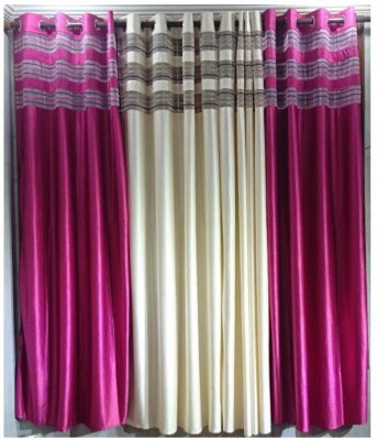 Galaxy Decorations Polyester Cream, Pink Striped Eyelet Door Curtain
