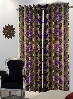 Home Blossoms Polyester Purple Floral Eyelet Window Curtain