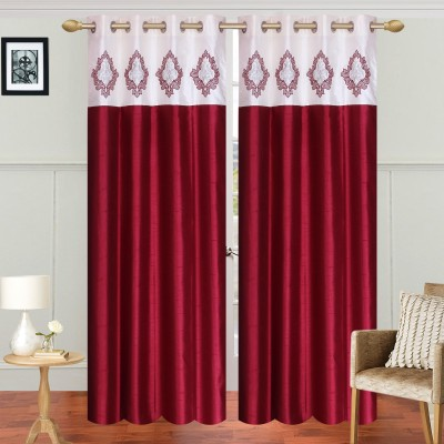 Abhi Decor Polyester Maroon Embroidered Curtain Door Curtain