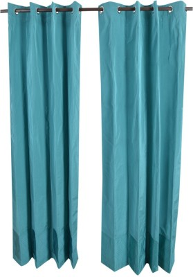 MABA Polyester Blue Plain Curtain Door Curtain(215 cm in Height, Pack of 2) at flipkart