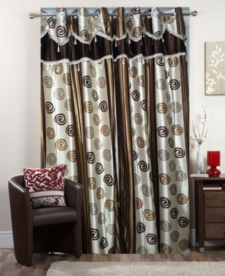 I-LivSmart Polyester Coffee Floral Curtain Door Curtain