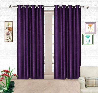 Comfort Zone Polyester Blue Solid Eyelet Door Curtain