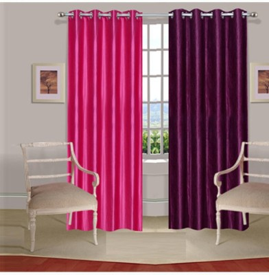 Fogg Polyester Pink, Purple Solid Tab Top Door Curtain