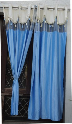 Muren Polyester Aqua Printed Eyelet Door Curtain