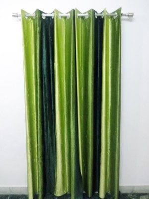 K Gallery Polyester Green Striped Eyelet Door Curtain
