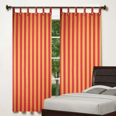 TG Shoppers Cotton Red, Orange Striped Curtain Window Curtain